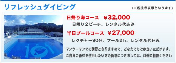 日帰り海コース¥20,000、日帰り2ビーチ、レンタル代別途、半日プールコース¥20,000、レクチャー30分、プール2h、レンタル代込み